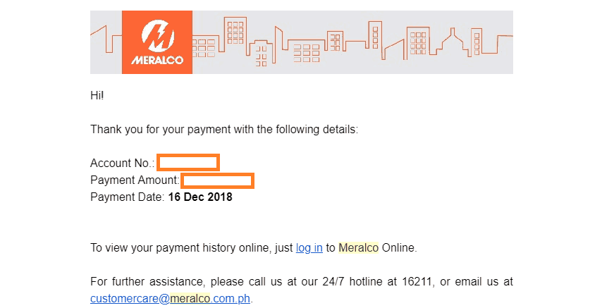 Register and Pay Meralco bill online - payment confirmation