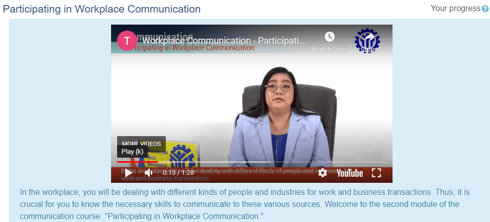 TESDA Free online course for Communication